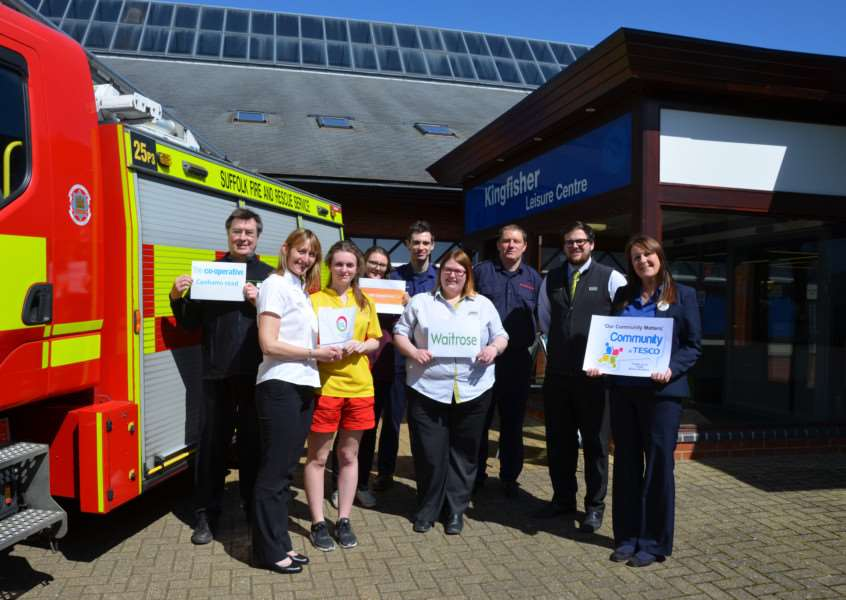 UNITED CAUSE: Sudbury firefighters, supermarket and leisure centre staff join forces to help children eat healthy. ANL-160420-145857001