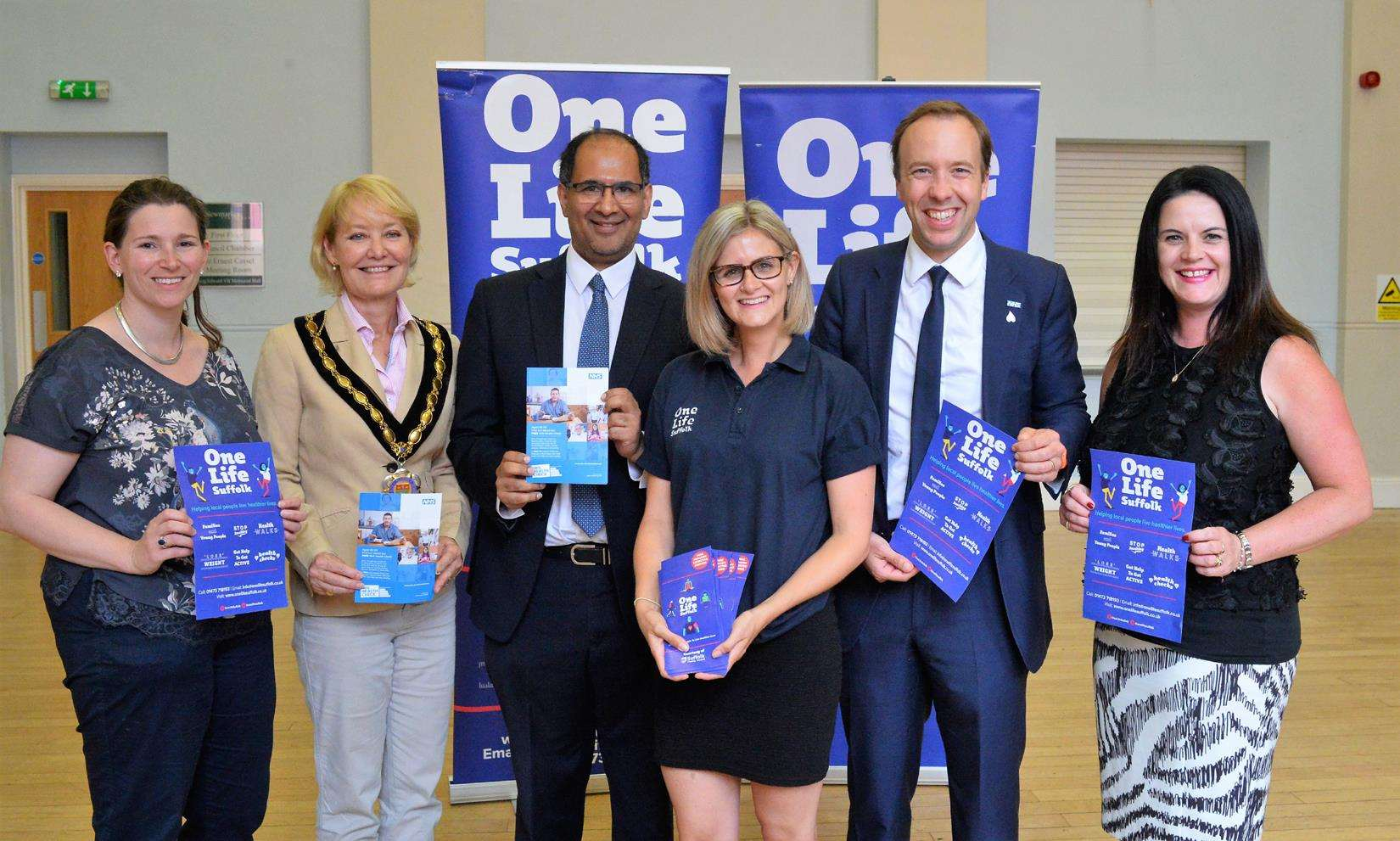Back in Newmarket, Matt Hancock is pictured with, from left, Newmarket Town Manager Roberta Bennett, mayor Cllr Rachel Hood, Suffolk's director of public health Abdul Razaq, Laura Beale of OneLife Suffolk, and Suffolk County Council's cabinet member for adult care Cllr Beccy Hopfensperger