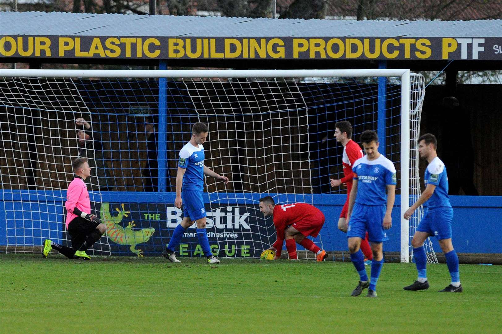 FOOTBALL - Bury Town v Aveley..Pictured: Bury Town concede their second goal....PICTURE: Mecha Morton... .. (5187107)