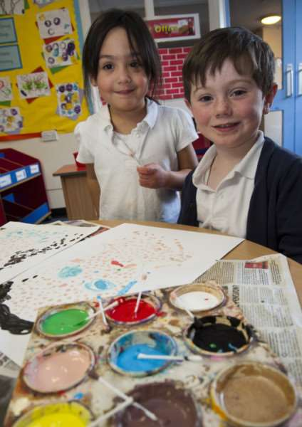 Beck Row Primary School school art day.'Kaileigh and Bradley Puma Class. ANL-150202-185944009