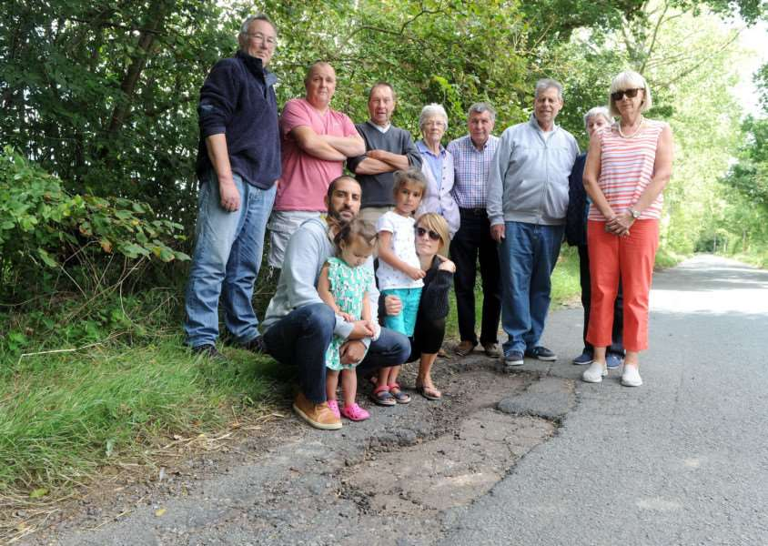 Rougham residents are angry about the potholes in the road that are not being fixed. Picture: Mecha Morton.