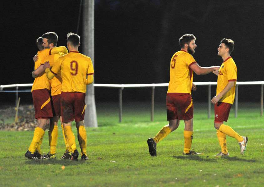 WELCOME WIN: Walsham-le-Willows celebrate one of their four goals in the comprehensive victory over Hadleigh United on Saturday