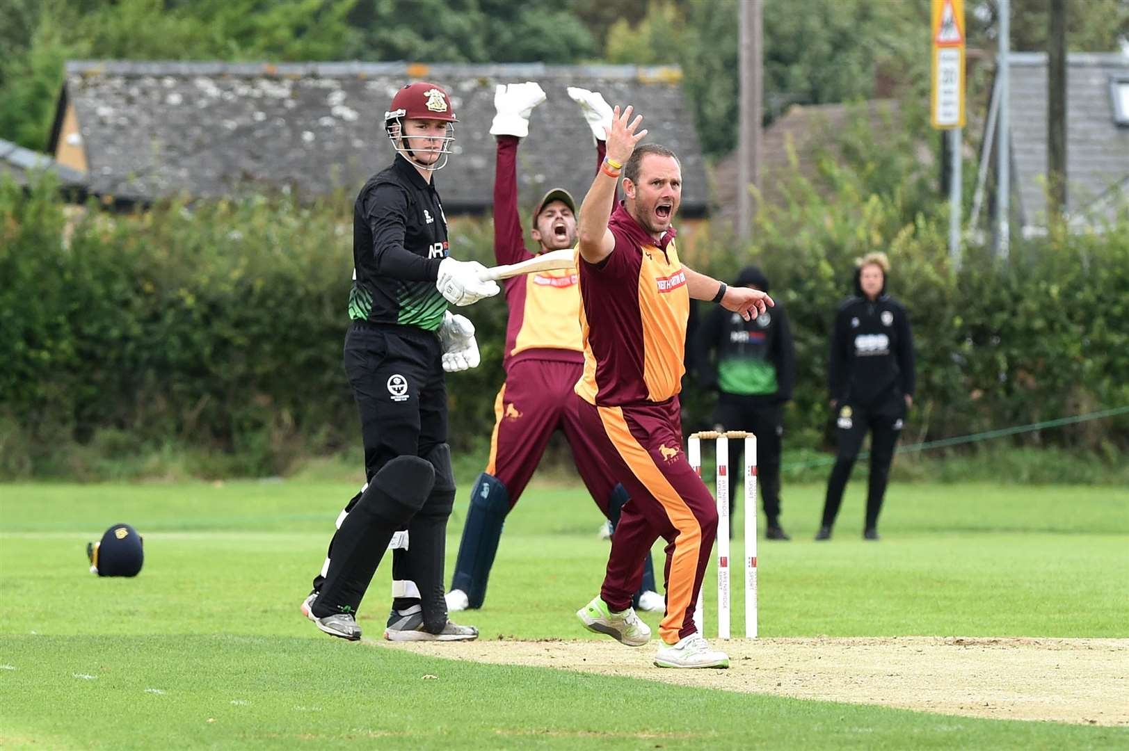 Sudbury club captain Darren Batch and first XI captain Adam Mansfield (wicketkeeper) lead the calls for a dismissal at Sawston & BabrahamPicture: Mecha Morton