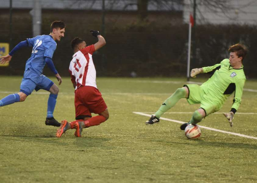 WIN REMOVED: Haverhill Borough have had their 4-1 win at Walsham-le-Willows on December 9 ruled out for fielding an ineligible player, Ed Greenall, pictured in goal during Saturday's 6-0 defeat to Stowmarket Town