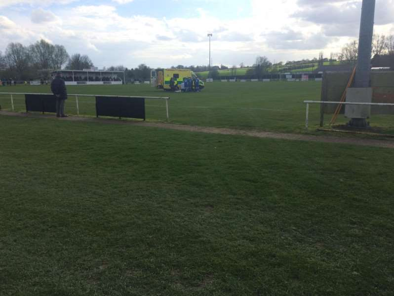 An ambulance on the pitch at Hadleigh United ahead of the game being abandoned Picture: Russell Claydon