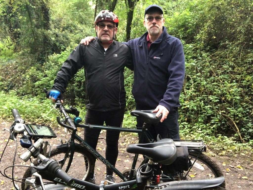 Mike Hall and friend John Cole on a cycle ride. Submitted picture