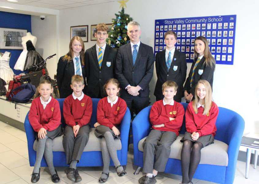 South Suffolk MP James Cartlidge meets with pupils and staff at Stour Valley Community School and Clare Primary School.