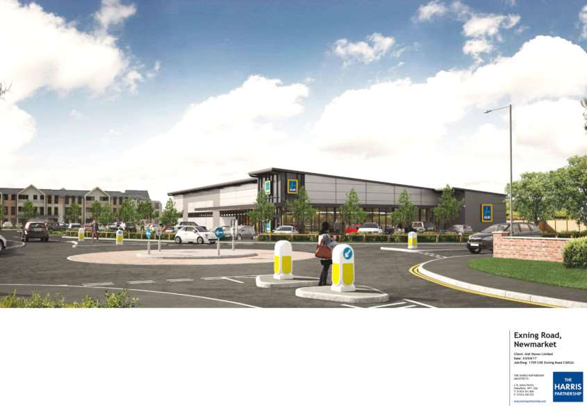 Computer generated image of proposed Aldi store in Exning Road, Newmarket