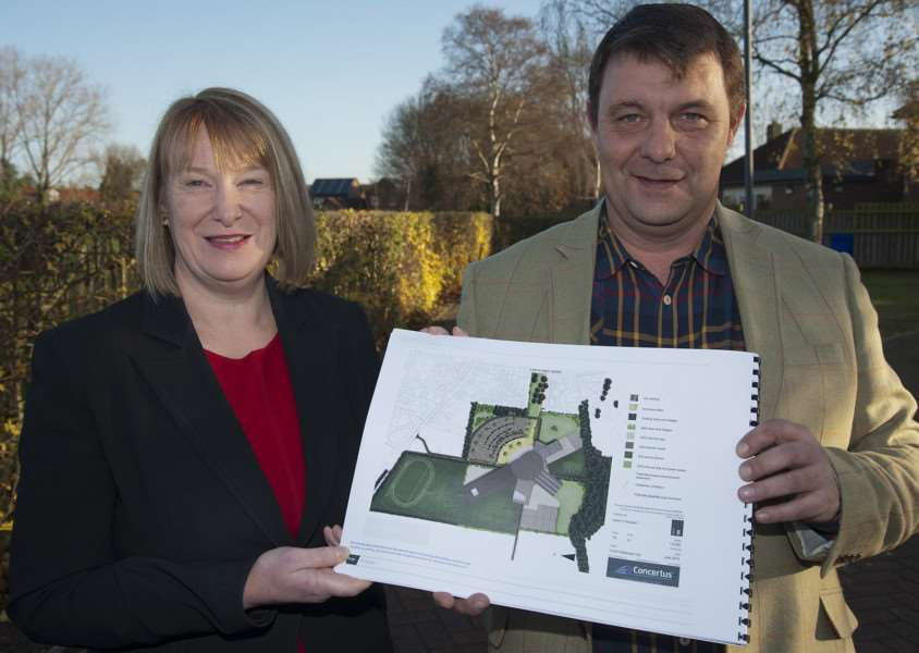 Mildenhall College Academy principal Susan Byles and Forest Heath council leader James Waters pictured last year looking at the Mildenhall Hub plans