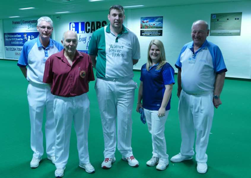CHAMPION: Katherine Rednall (second right) defeated Wayne Willgress (centre) in the final of the tournament