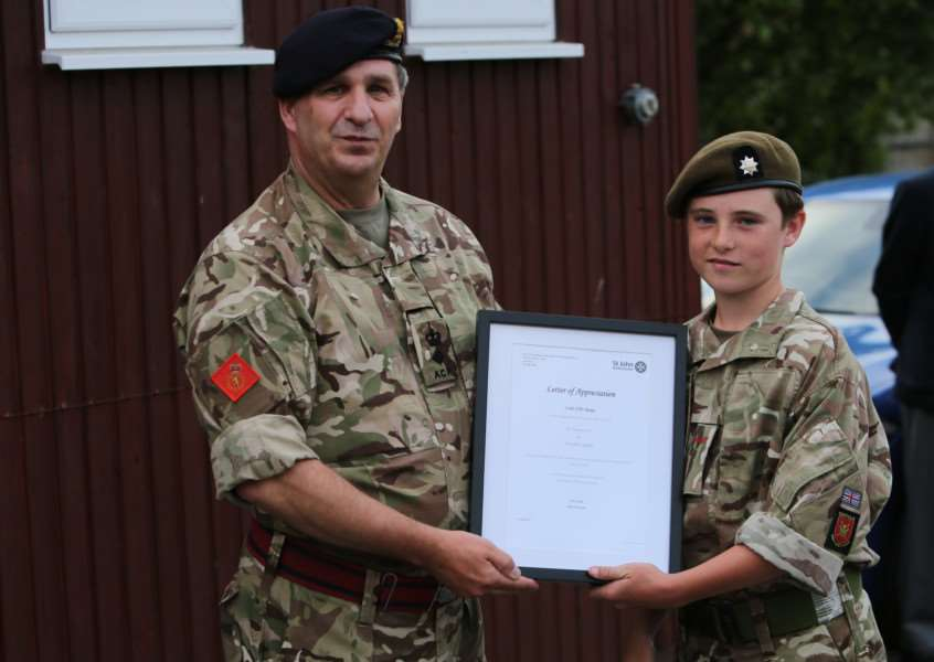 Cadet Ellis Rudge letter of appreciation from the St John Ambulance headquarters by the deputy Commander Lt Col Andy Smith Suffolk ACF.