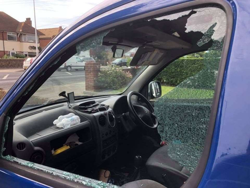 The van's window was smashed overnight. File picture