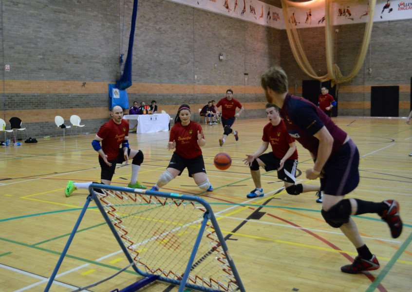 EYE ON THE BALL: Bury St Edmunds tchoukball players in action