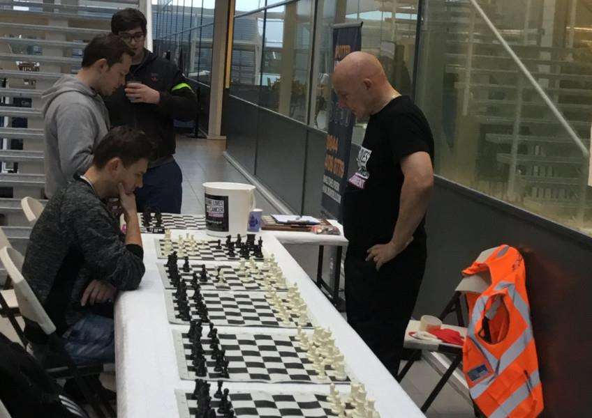 Stephen Lea, of Great Henny, held a charity chess marathon at Stansted Airport to raise money for Clic Sargent.