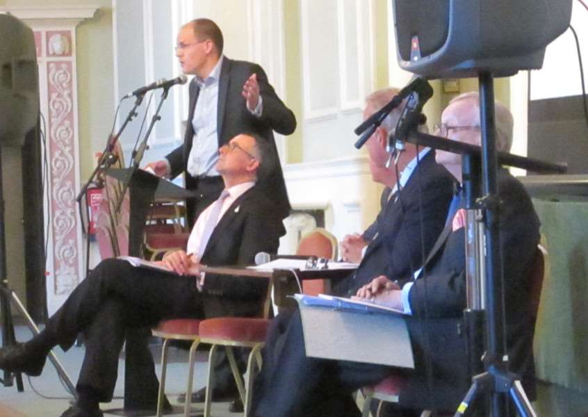 The EU Referendum debate at The Athenaeum in Bury St Edmunds: businessman Luke Morris speaks for the out side, watched by, from the left, Bernard Jenkin MP, Tim Stonehoiuse and Lord Deben ANL-160616-095525001