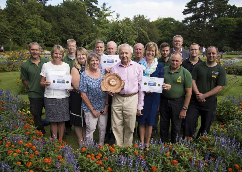 Bury has won three gold awards in the prestigious Anglia in Bloom campaign. Pictured in the award-winning Abbey Gardens are some of the people who help make the park so attractive, with gardening group coordinator Lynda Seldis and retiring Bury in Bloom chairman Alan Jary centre