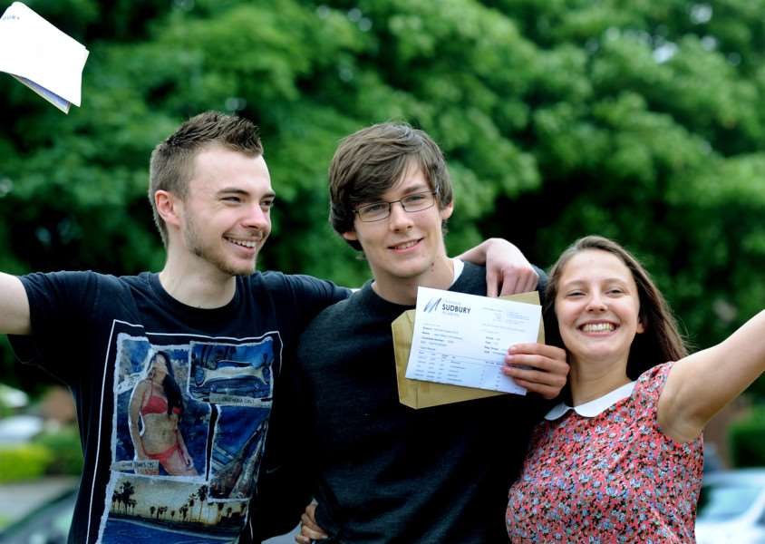 Ormiston Sudbury Academy students receive their A-Level results.'Top students - Former head boy Ben Armstrong, Jack Hinshelwood and Rebekah Holmes ANL-150813-134327009