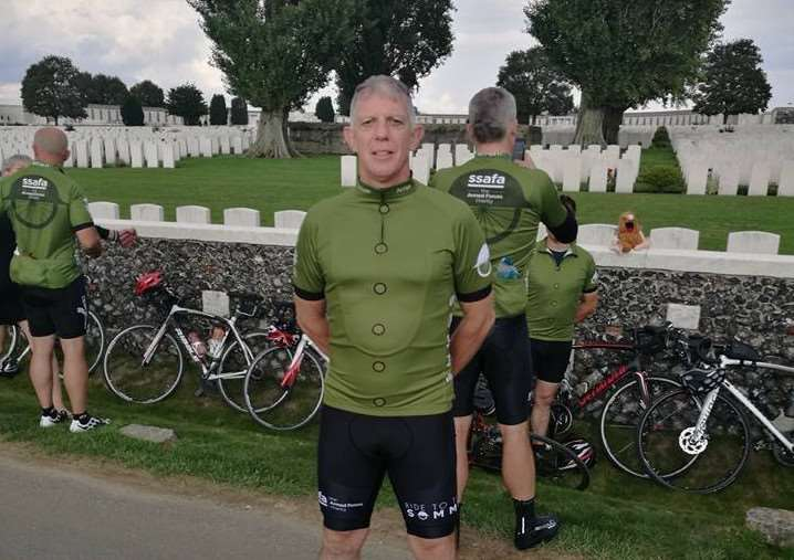 Paul Quick at the Tyne Cot Commonwealth War Graves Cemetery near Passchendaele in Belgium at the end of the ride