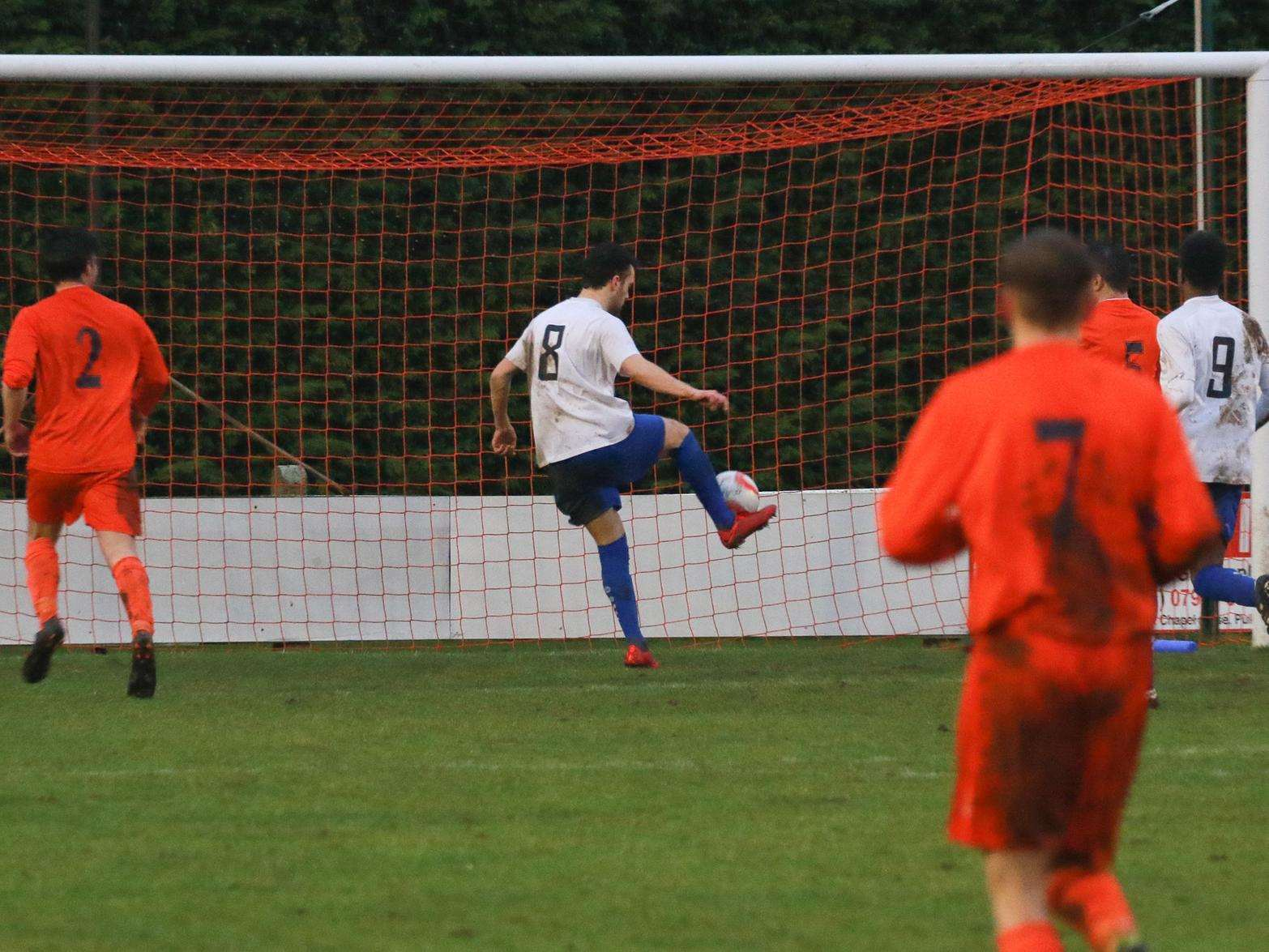 DISS-PAIR: It's an easy finish for Braintree Town Reserves' number eight Mark Dallinger at Diss Town, who were to succumb to a 3-0 defeat at Brewers Green Lane Picture: Gary Donnison