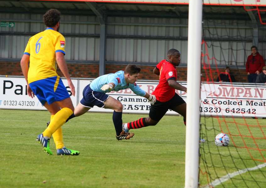 DANGER MAN: Eastbourne Borough striker Nathaniel Pinney all set to score from close range in Saturday's FA Cup tie