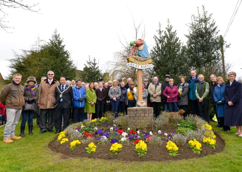 Unveiling of village sign in Great Barton