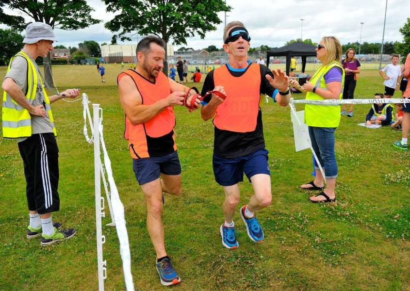 Great Cornard, Suffolk. A 'Visually Impaired/Guide Runner' taster event takes place as part of the Great Cornard Parkrun, to help increase the participation of visually-impaired people. ''Picture: MARK BULLIMORE