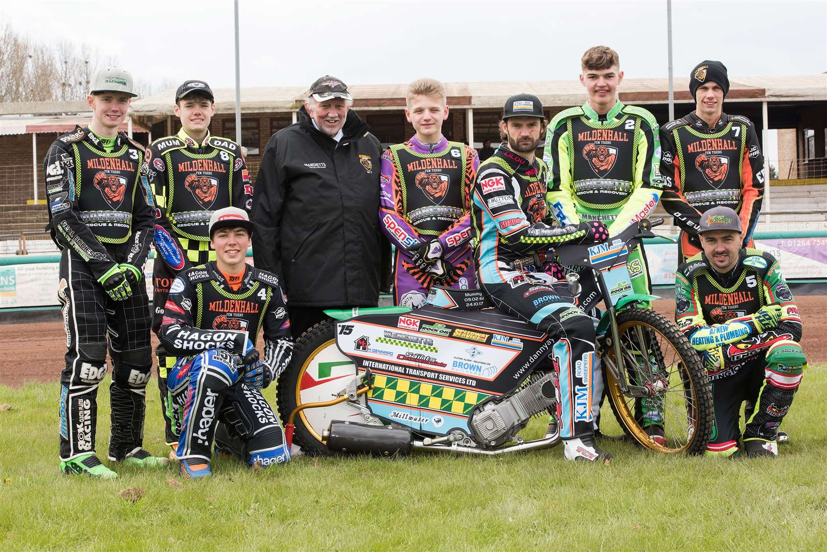 Mildenhall Fen Tigers Press and Practice Day Fen Tigers team 2019 Danny Ayres, Sam Bebee, Charlie Brooks, Jason Edwards, Dave Wallinger, Elliot Kelly, Macauley Leek and Sam Norris Picture by Mark Westley. (8740386)