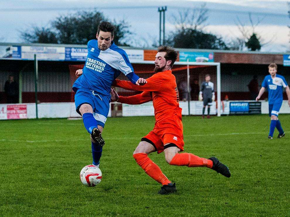 AWAY VICTORY: Match action from Cornard United's 3-0 win at Diss Town in the Thurlow Nunn League First Dvision Picture: Al Pulford