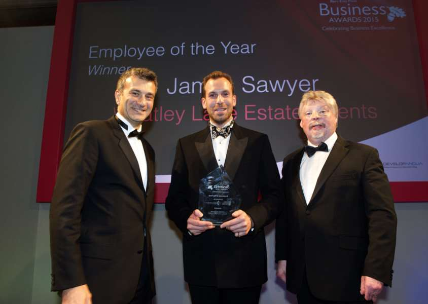 Bury Free Press Business Awards 2015 hosted by Simon Weston''Pictured: Employee of the Year presented by Dr Nikos Savvas (Principle of WSC) - James Sawyer (Whatley Lane Estate Agents) ANL-151010-020214009