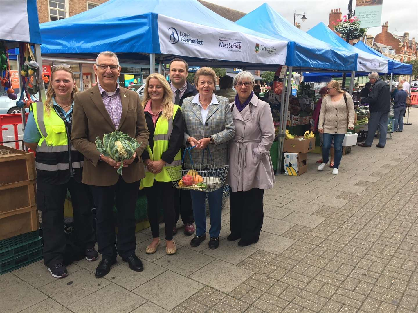 At the fist day of the High Street market: Gabby Furze, Markets Officer; Cllr David Bowman, Cabinet member for Operations at Forest Heath District Council; Sharon Fairweather, Market Development Manager; Graham Philpot of Love Newmarket; Cllr Philippa Winter, Newmarket Town Council and Lesley Ferguson