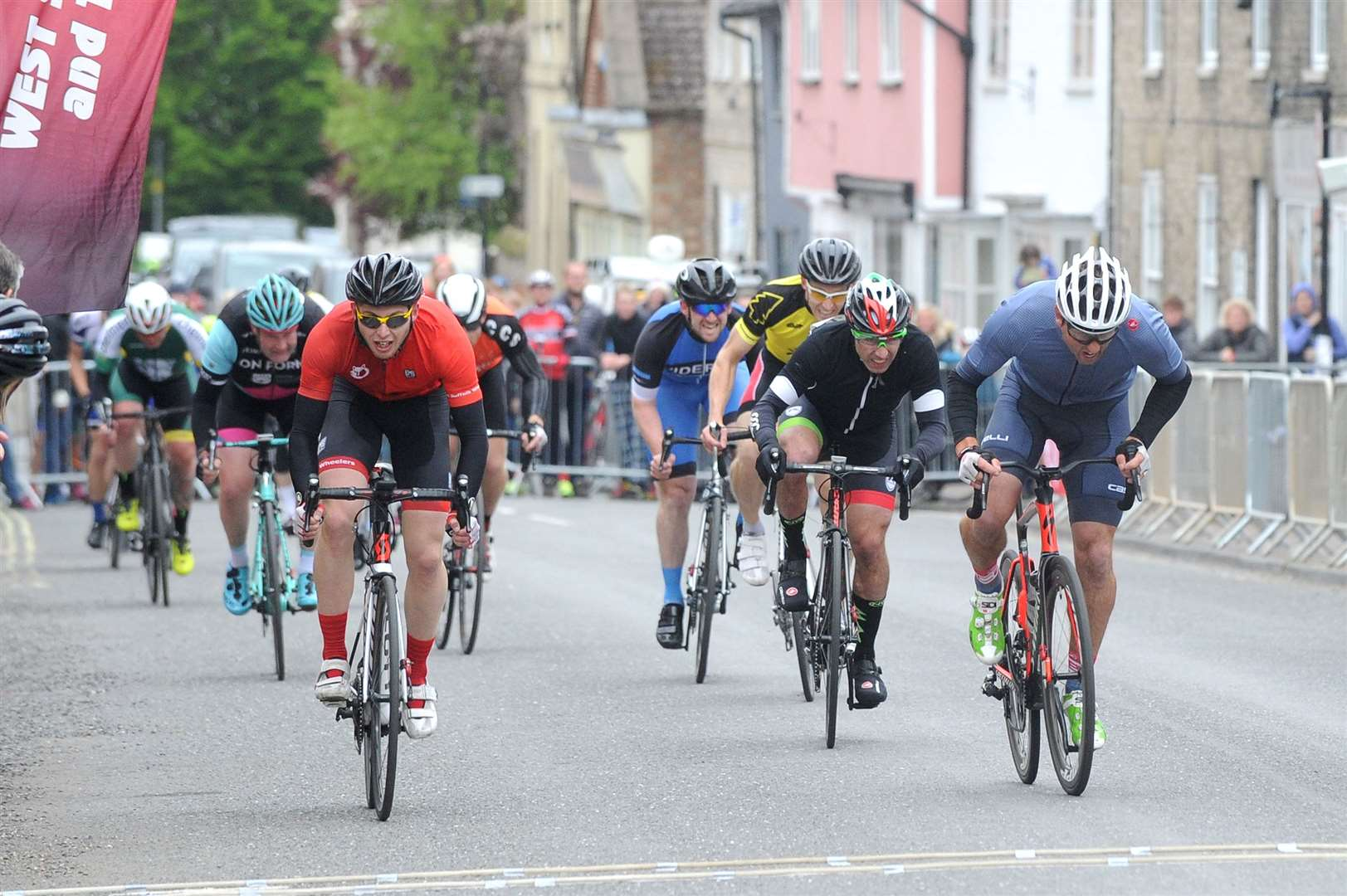 Action from the Senior and Junior Men fourth category race, sponsored by the Bury Free Press, at this year's Ixworth Cycle Races, held on Bank Holiday Monday Pictures: Mecha Morton