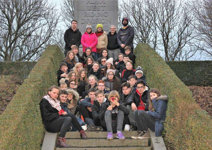 Castle Manor Academy students at the 49th West Riding Division memorial at Ypres