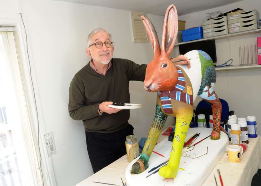 Artist Dan Morgan with the Thetford inspired sculpture. PICTURE: Mecha Morton