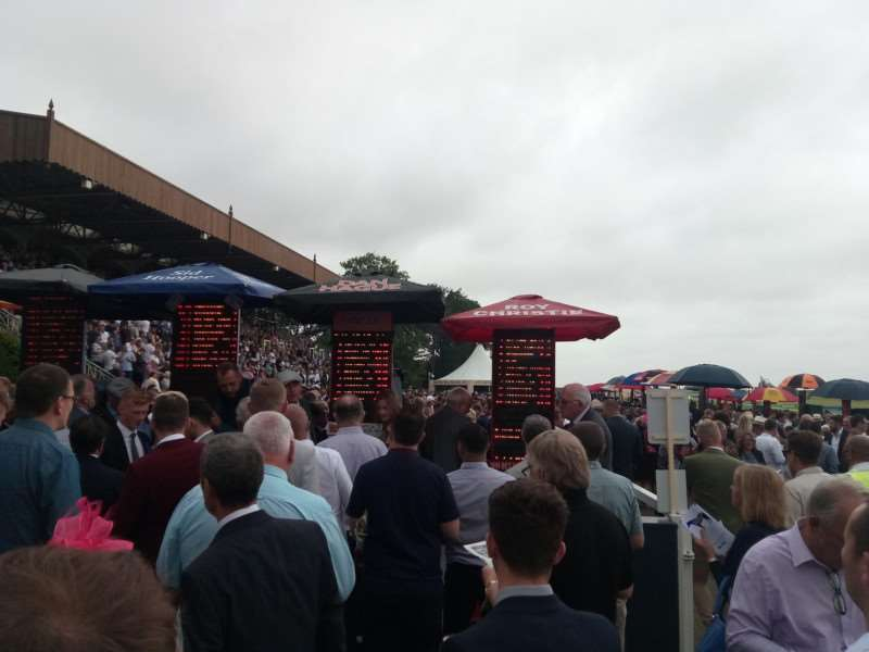 BIG MONEY: Plenty of punters placing their bets at Newmarket's July course