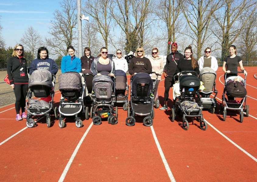 Ladies on the Active Mums - Buggies and Babies session at Bury St Edmunds Leisure Centre ran a mile and completed other physical tasks around the track.