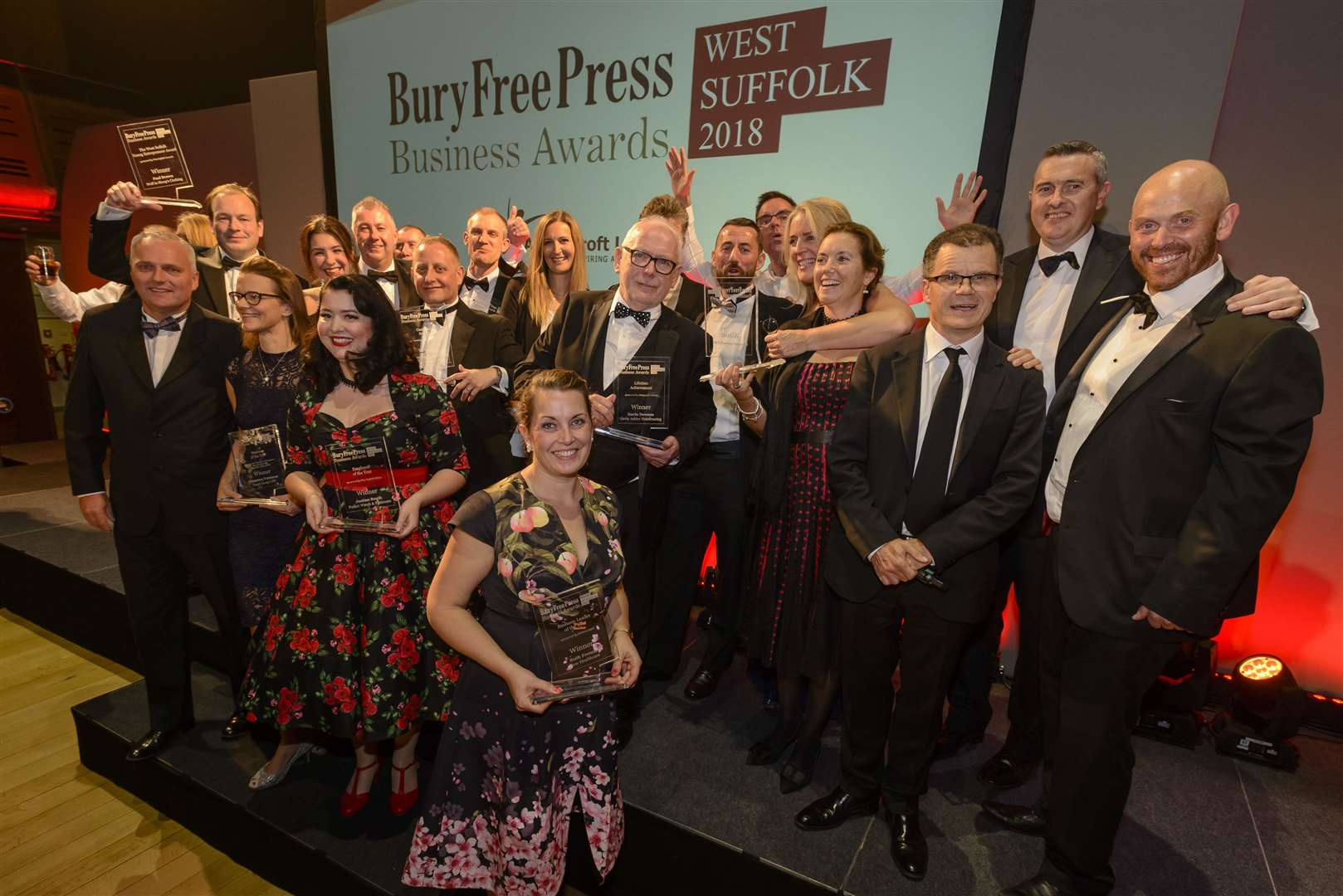 Winners of the Bury Free Press Business Awards 2018. Picture: Mark Bullimore Photography.