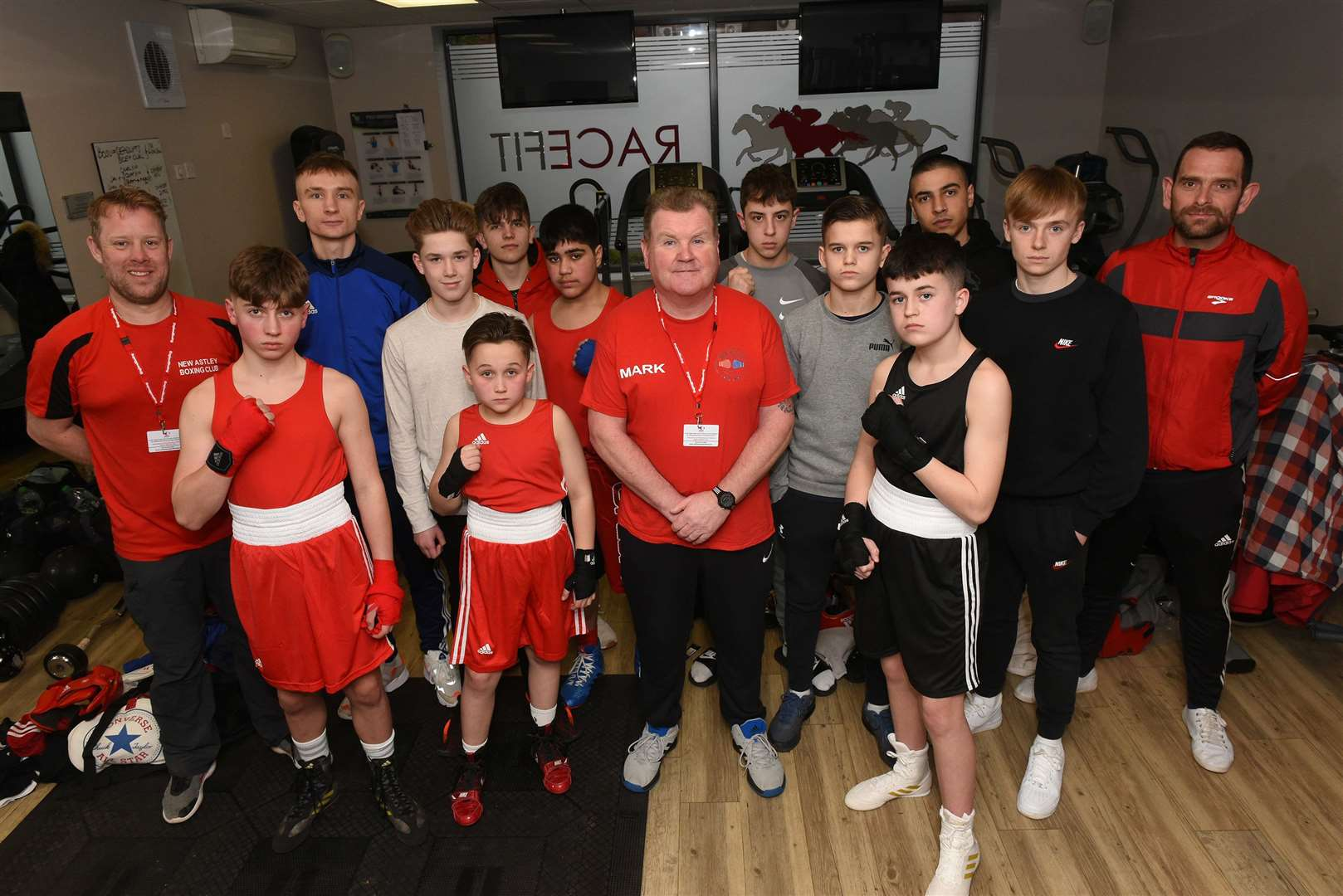 Boxing - Newmarket Astley Club Boxing charity fight night for Harry Fussey coach Mark O'Reilly with lads before the event Picture Mark Westley. (31099909)