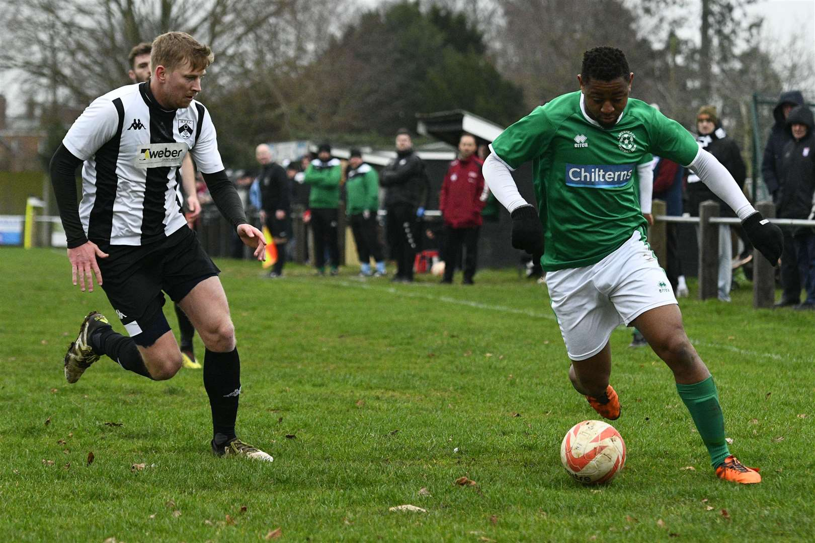 Football action from Harleston Town vs Lakenheath - Jake Anema (H) and Kelvin Enaro (L)...Picture by Mark Bullimore Photography. (6332748)