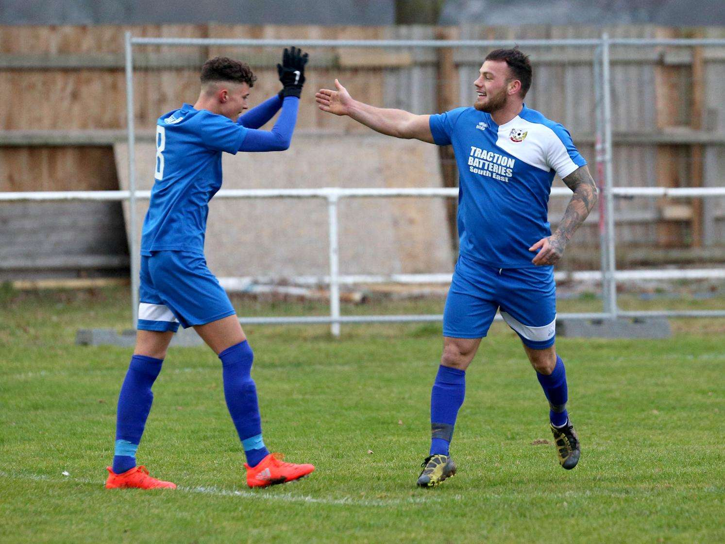 HIGH FIVES: Cornard celebrate one of their two goals versus Needham Market Reserves. Picture: Richard Marsham
