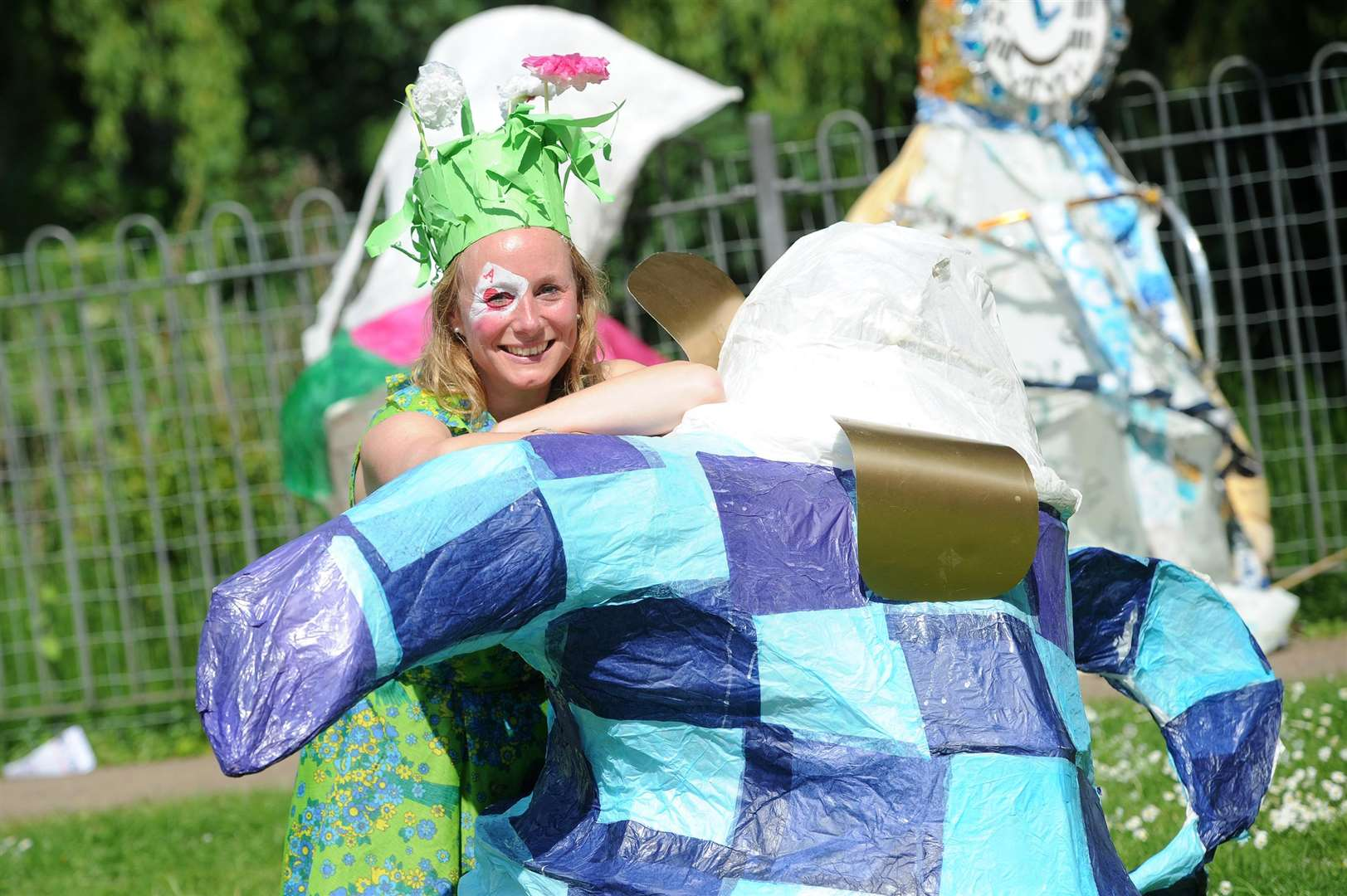 Artist Louise Gridley with her own hat creation for the Mad Hatters' Parade. Picture : Mecha Morton (2242942)
