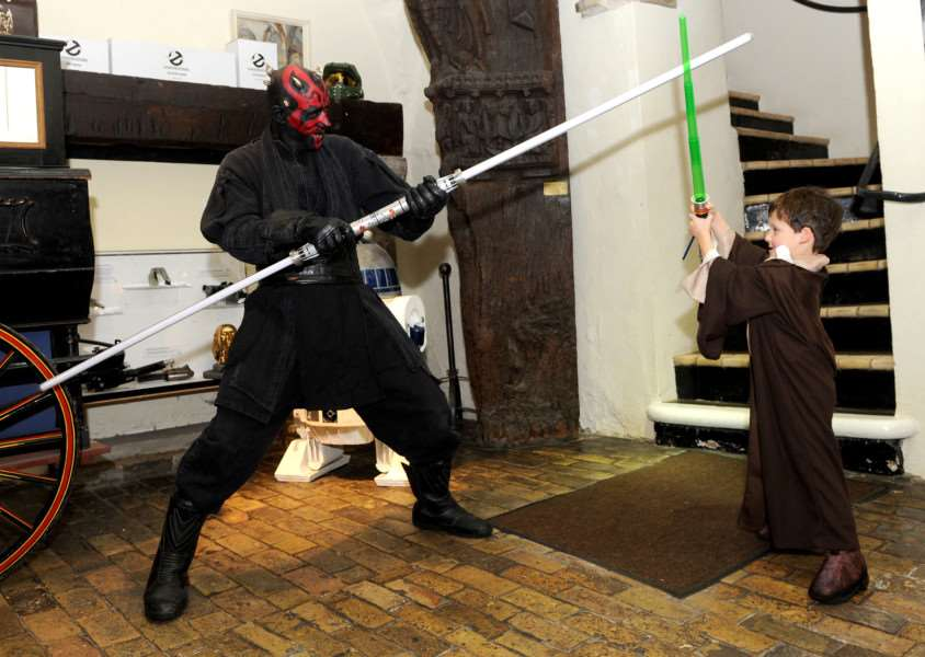 Five-year-old Harry Rayner takes on Darth Maul ANL-161022-130637009