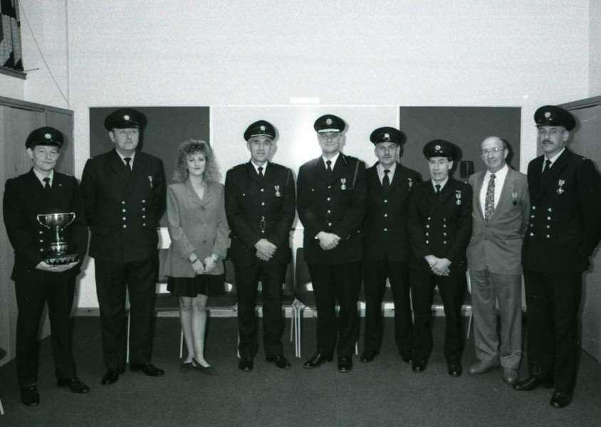 NOSTALGIA- Suffolk firemen recieved their awards for 20 years long service and good conduct - 1992