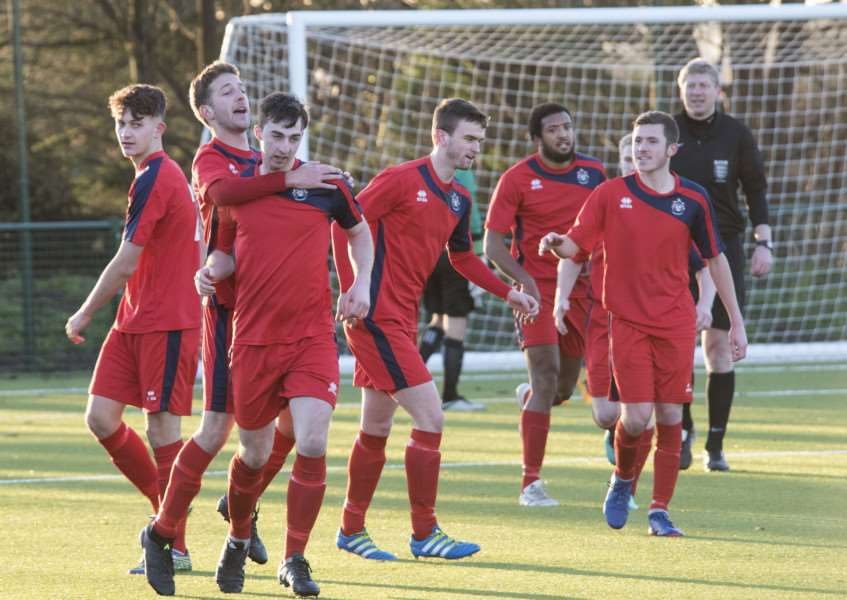 EARLY SUCCESS: Hadleigh United players celebrate going 1-0 up against this weekend's opponents Newmarket Town in the reverse fixture at the Ridgeons Stadium on January 2. Newmarket battled back to run out 6-1 winners and head into this Saturday's trip to the Millfield positioned in third place in the table