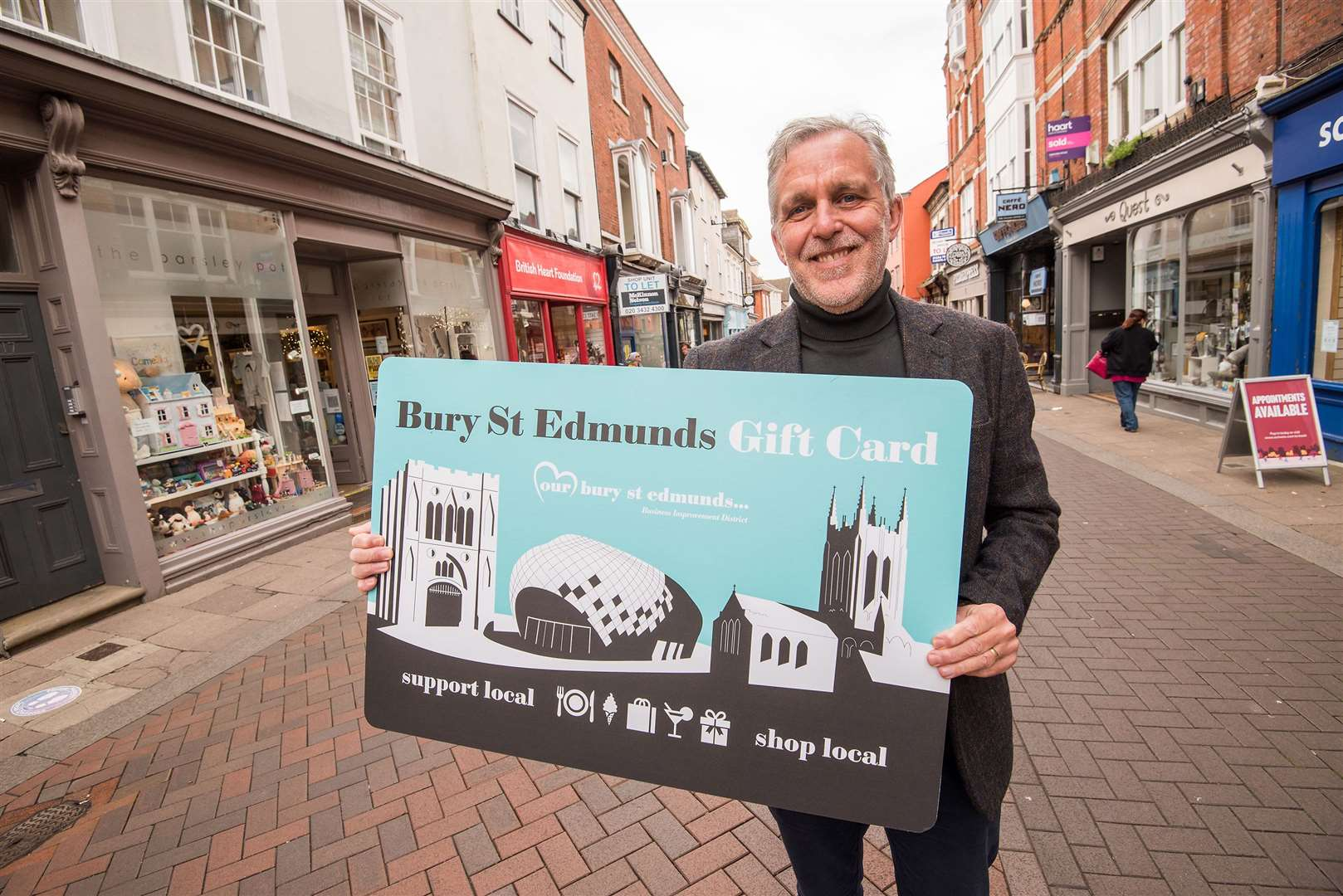 Mark Cordell, chief executive of Our Bury St Edmunds Business Improvement District. Last week the BID launched a town centre gift card. Picture by Mark Westley