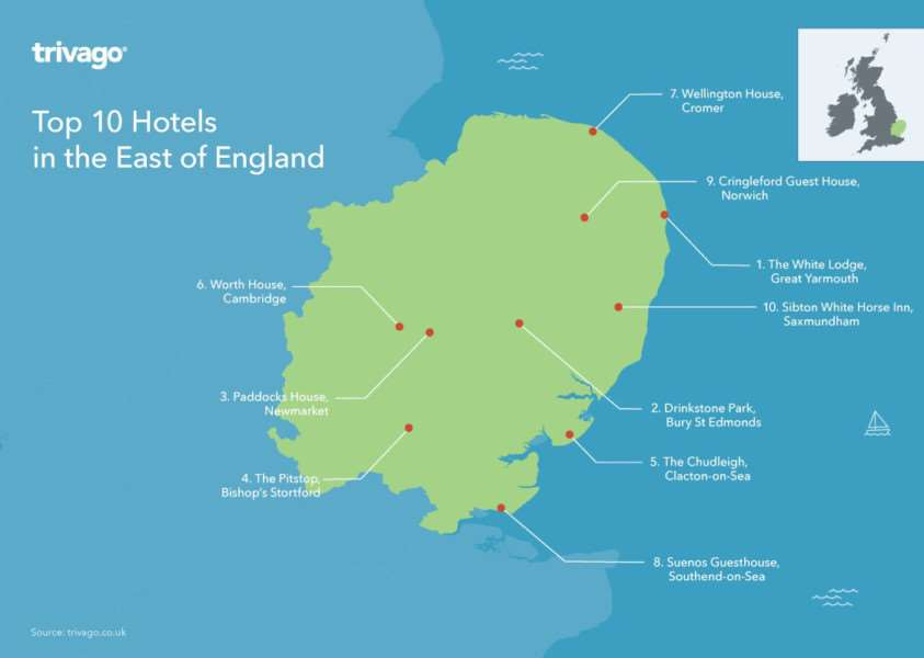 The East of England's top 20 hotels as listed by Trivago