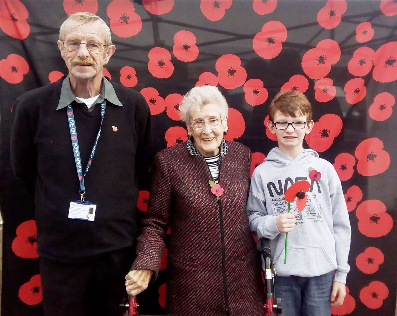 Barry Bishop, Haverhill's Poppy Appeal organiser, Betty Sizer, who will be pleased to receive donations at Iceland's store and Sebastian Thornton, who will be collecting at Sainsbury's store on his birthday