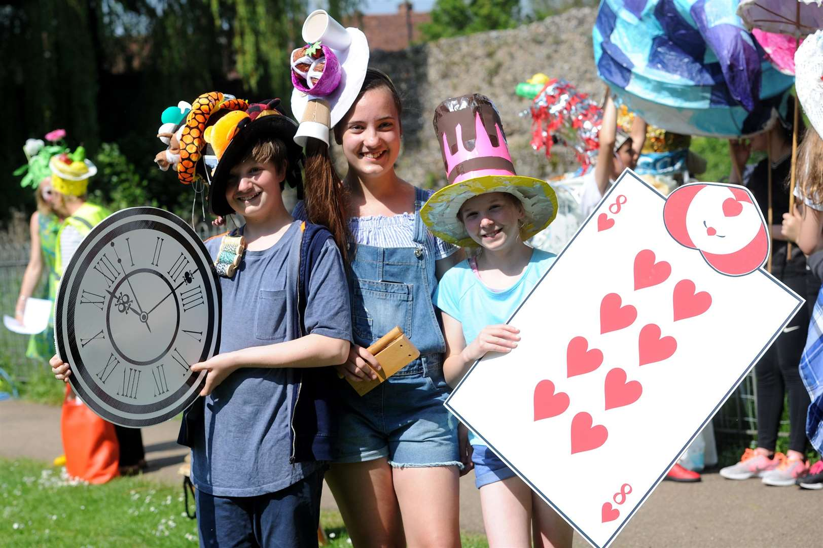 Nathan Barrett (11), Emily Walkowska (12) and Charlotte Berry (12) at the Mad Hatters' Parade