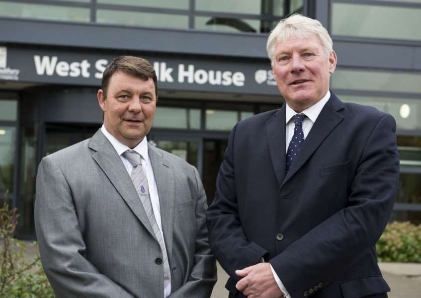 West Suffolk House Bury St Edmunds''Council leaders James Waters Forest Heath District Council grey suit and John Griffiths St Edmundsbury Borough Council blue suit. Plans to merge councils press conference.'Picture Mark Westley