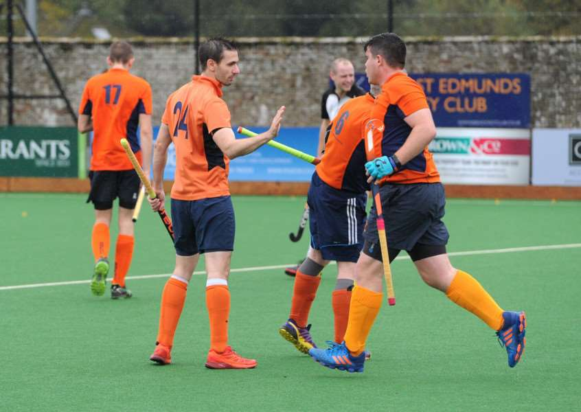 HOME LOSS: Bury Men's II celebrate one of their goals in the 3-2 loss to Harleston Magpies