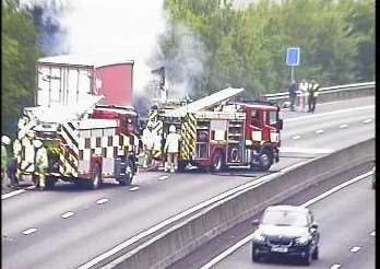The fire on the M11 this afternoon